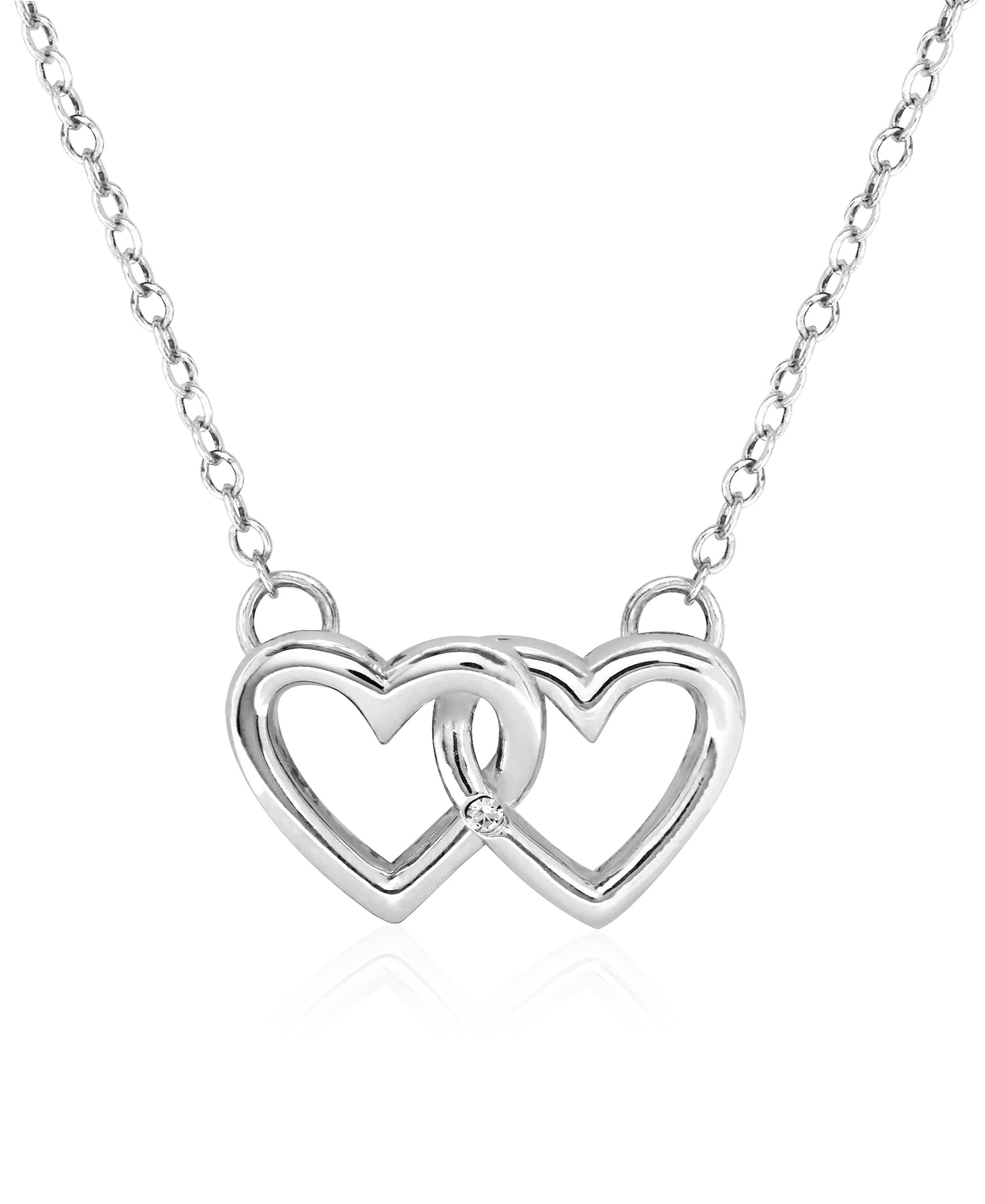 Children's Sterling Silver Double Heart Pendant Necklace - Rhona Sutton Jewellery