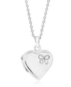 Children's Sterling Silver Butterfly Heart Locket - Rhona Sutton Jewellery