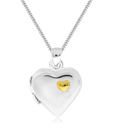 Children's 2-Tone Sterling Silver & 14K Gold Heart Locket - Rhona Sutton Jewellery