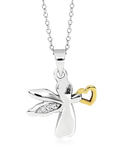 Children's 2-Tone Sterling Silver & 14K Gold Angel Pendant Necklace - Rhona Sutton Jewellery