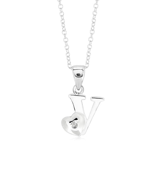 Children's Sterling Silver Initial & Heart Pendant Necklace - Rhona Sutton Jewellery