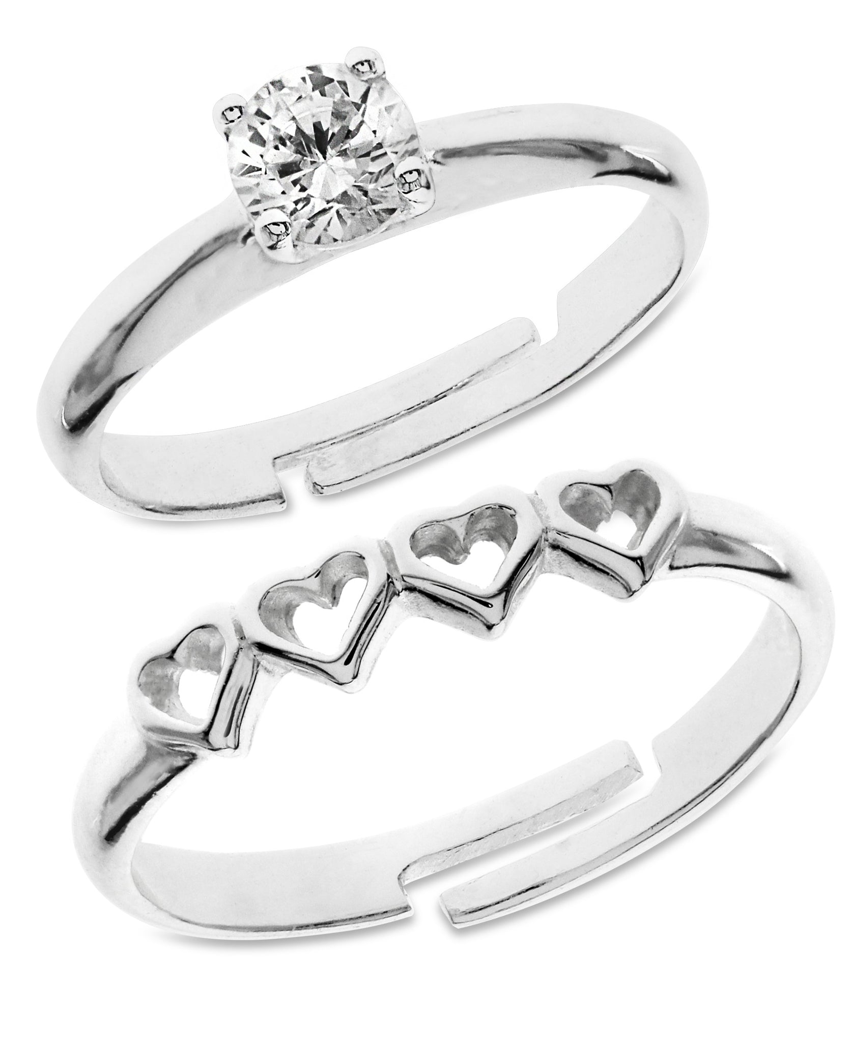 Children's Sterling Silver Hearts & Round Cut Cubic Zirconia Adjustable Rings - Set of 2 - Rhona Sutton Jewellery