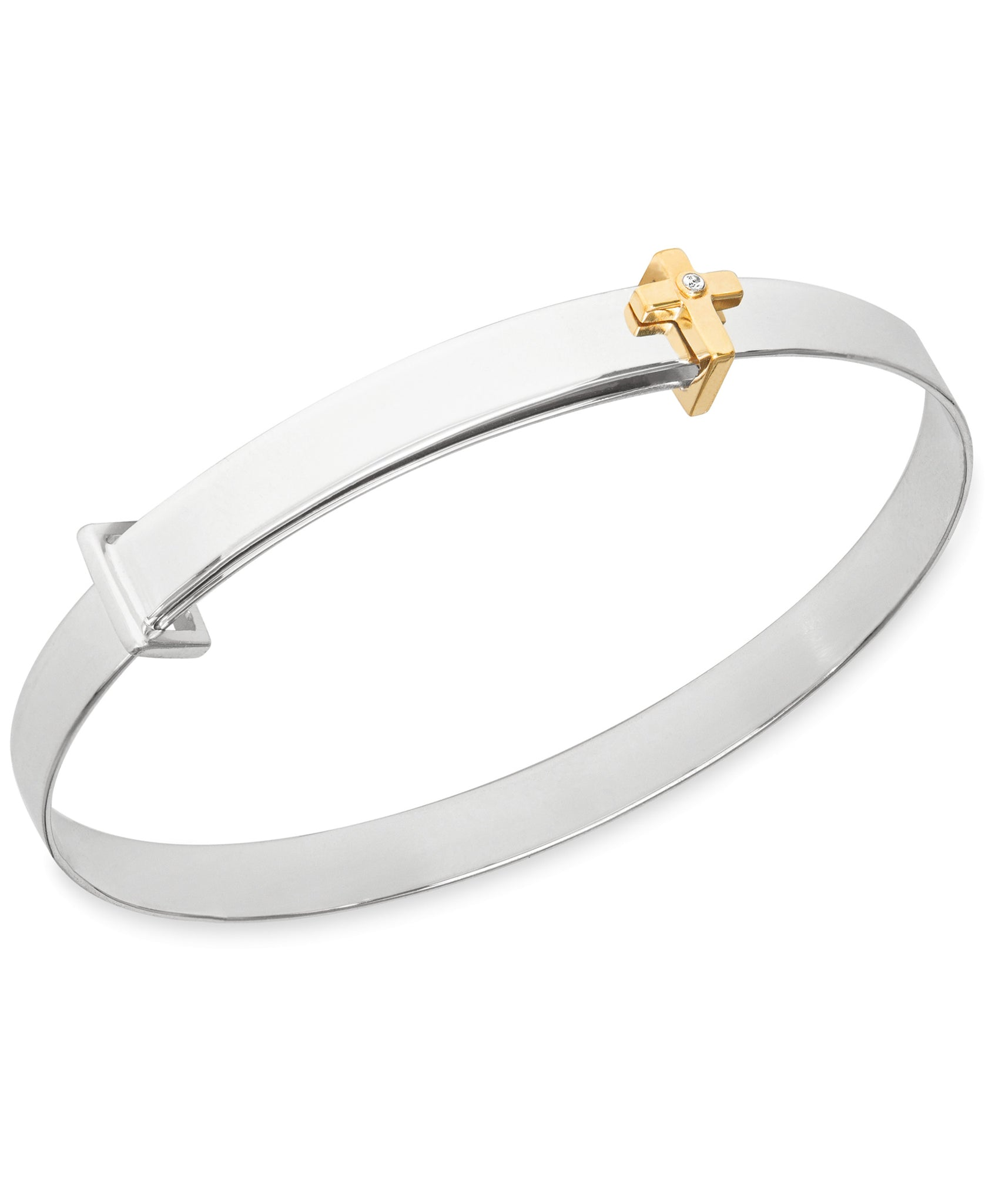 Children's Diamond Accent Cross Expander Bangle Bracelet in Sterling Silver & 14K Gold over Silver - Rhona Sutton Jewellery