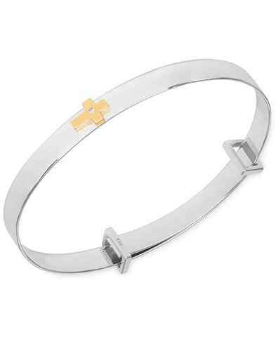 Children's Diamond Accent Central Cross Expander Bangle Bracelet in Sterling Silver & 14K Gold over Silver - Rhona Sutton Jewellery