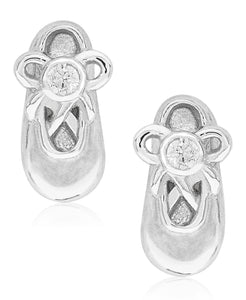 Children's Diamond Accent Ballet Slipper Stud Earrings in Sterling Silver - Rhona Sutton Jewellery
