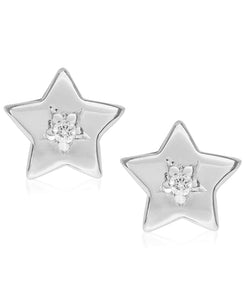Children's Diamond Accent Star Stud Earrings in Sterling Silver - Rhona Sutton Jewellery