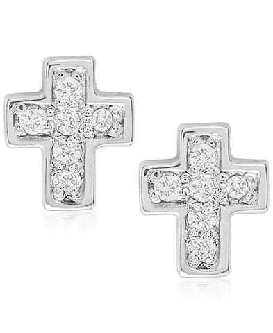 Children's Diamond Accent Cross Stud Earrings in Sterling Silver - Rhona Sutton Jewellery