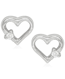 Children's Diamond Accent Heart Silhouette Stud Earrings in Sterling Silver - Rhona Sutton Jewellery