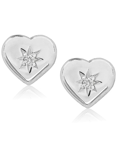 Children's Diamond Accent Heart Stud Earrings in Sterling Silver - Rhona Sutton Jewellery