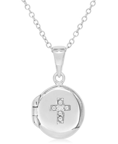 Children's Diamond Accent Cross Locket in Sterling Silver - Rhona Sutton Jewellery