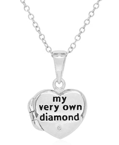 Children's Diamond Accent Locket in Sterling Silver - Rhona Sutton Jewellery