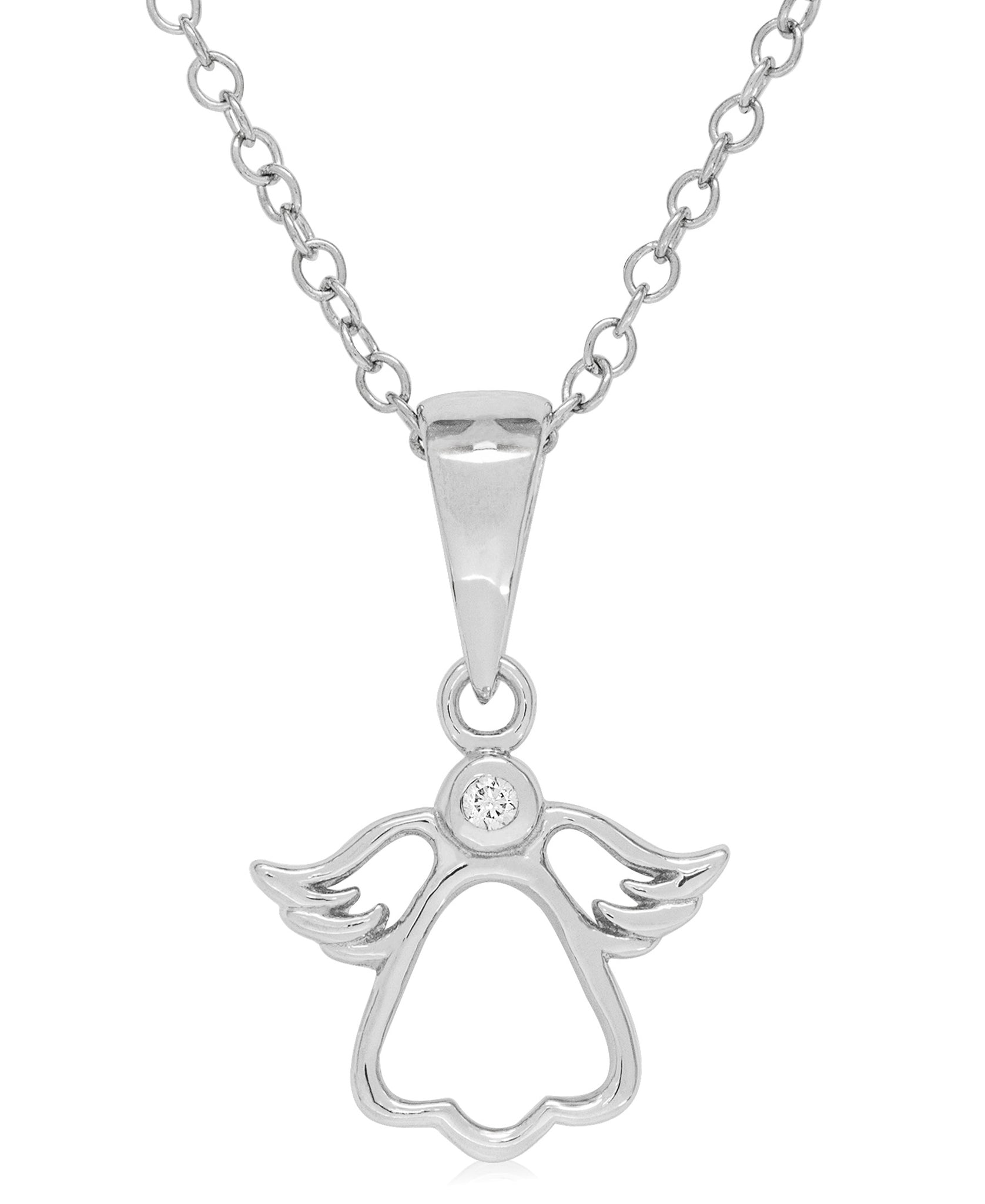 Children's Sterling Silver Diamond Accent Angel Necklace - Rhona Sutton Jewellery