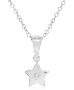 Children's Sterling Silver Diamond Accent Star Necklace - Rhona Sutton Jewellery