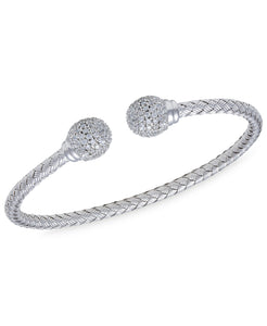 Rhona Sutton Crystal Ball Plated Sterling Silver Cuff Bangle - Rhona Sutton Jewellery