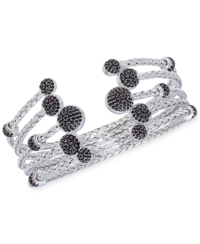 Rhona Sutton 5 Row Crystal Dome Sterling Silver Cuff Bangle - Rhona Sutton Jewellery