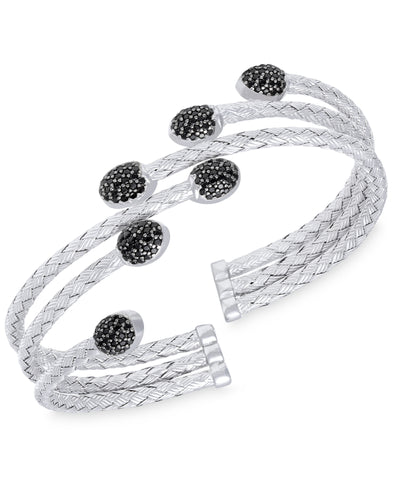 Rhona Sutton Stepped Rows Crystal Dome Sterling Silver Cuff Bangle - Rhona Sutton Jewellery
