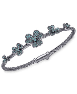 Rhona Sutton Crystal Flowers Plated Sterling Silver Bangle Bracelet - Rhona Sutton Jewellery