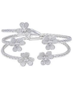 Rhona Sutton Crystal Flowers Plated Sterling Silver Cuff Bangle - Rhona Sutton Jewellery