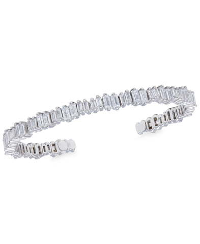 Rhona Sutton Staggered Crystals Sterling Silver Cuff Bracelet - Rhona Sutton Jewellery