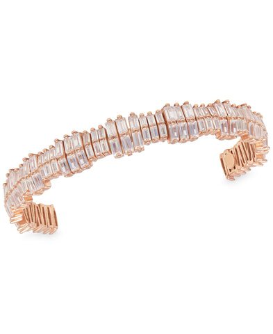 Rhona Sutton 2 Row Staggered Crystals Sterling Silver Cuff Bracelet - Rhona Sutton Jewellery