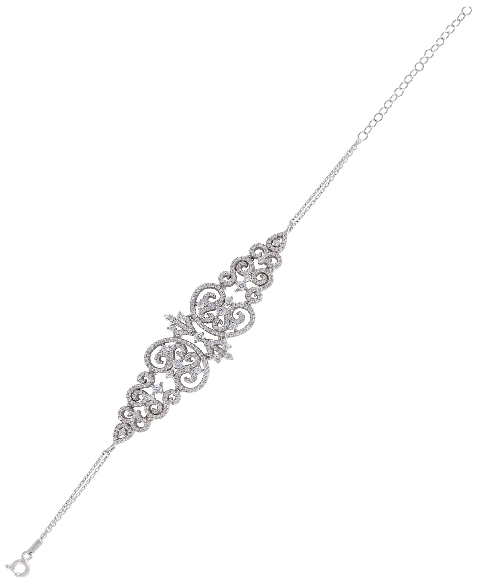 Rhona Sutton Tapered Crystal Damask Sterling Silver Chain Bracelet - Rhona Sutton Jewellery