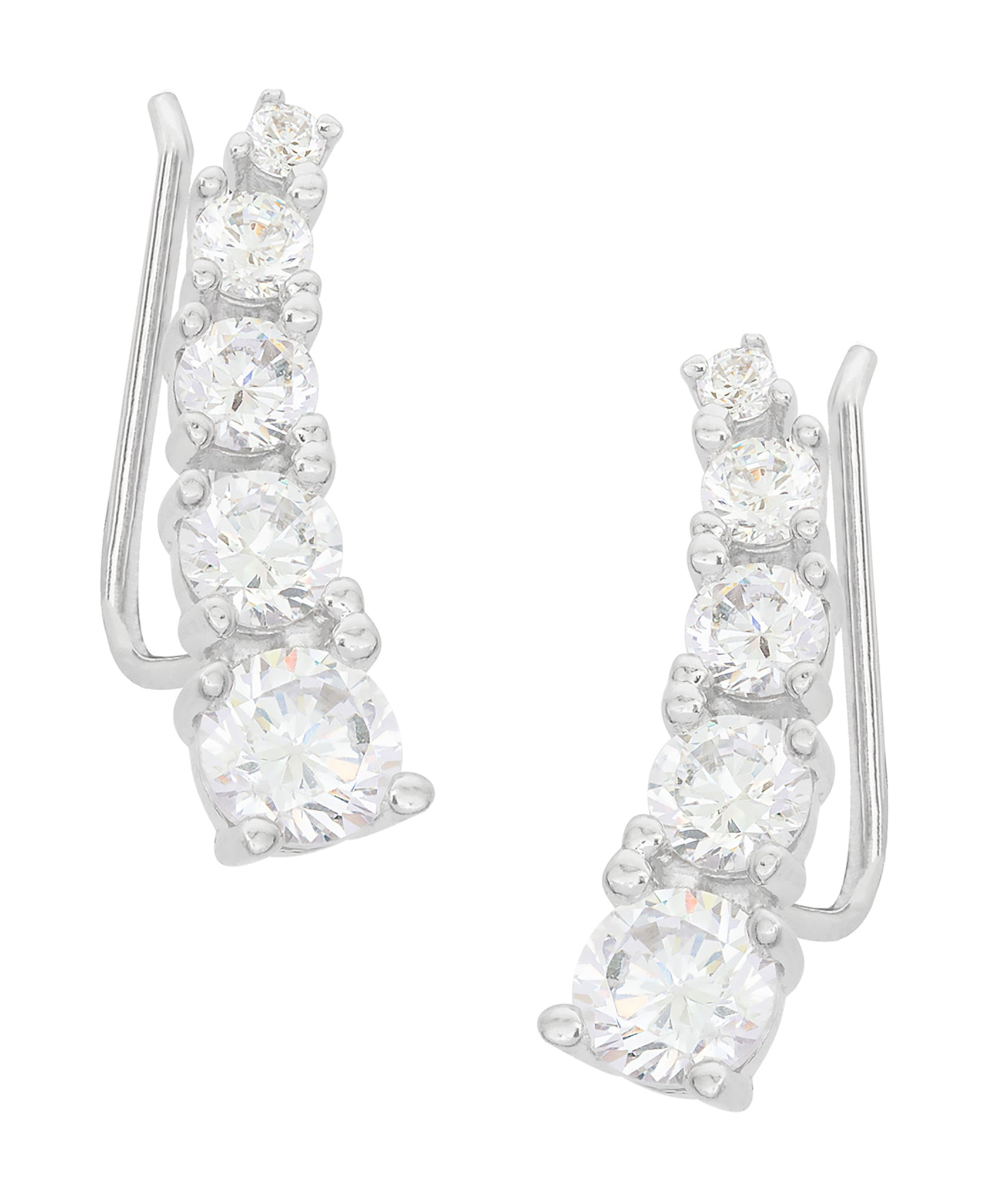 Rhona Sutton Sterling Silver Graduated Crystal Ear Climbers - Rhona Sutton Jewellery