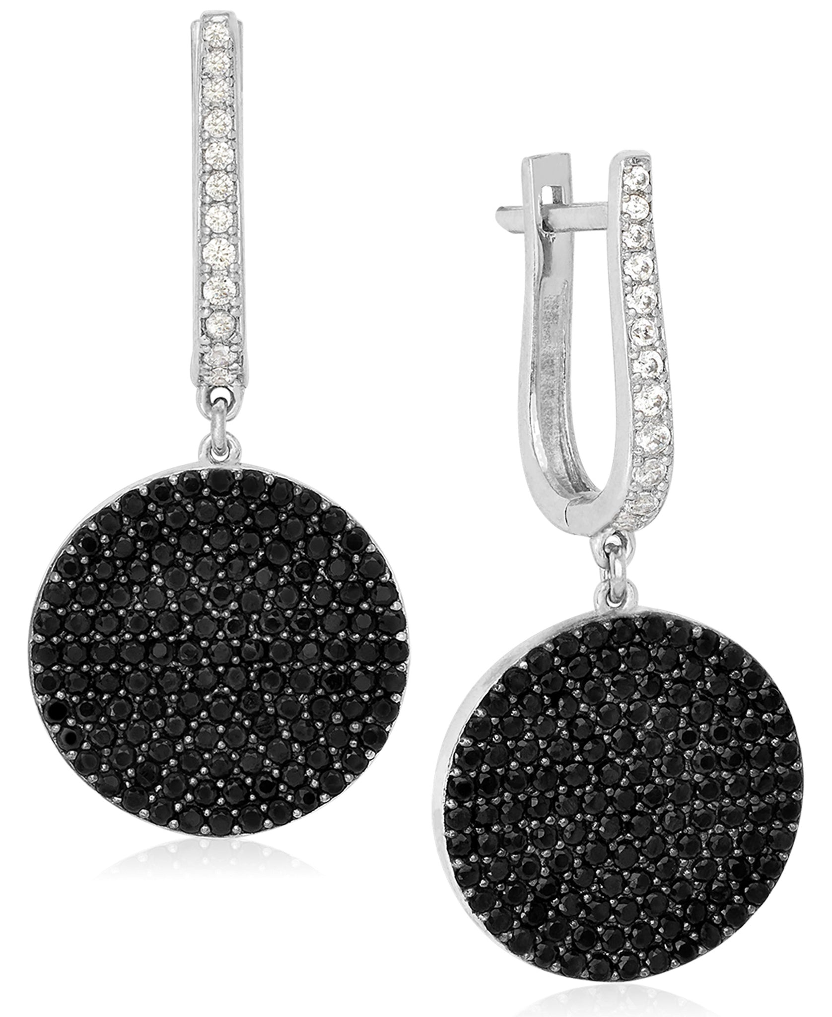 Rhona Sutton Sterling Silver Crystal Disc Medallion Drop Earring - Rhona Sutton Jewellery