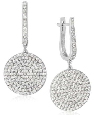Rhona Sutton Sterling Silver Crystal Disc Medallion Drop Earrings - Rhona Sutton Jewellery