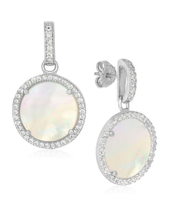 Rhona Sutton Sterling Silver Mother of Pearl and Crystal Disc Drop Earrings - Rhona Sutton Jewellery