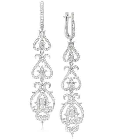 Rhona Sutton Tapered Crystal Damask Sterling Silver Drop Earrings - Rhona Sutton Jewellery