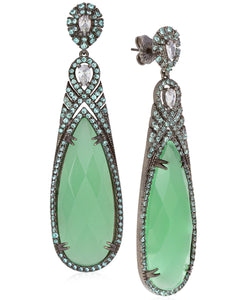 Rhona Sutton Plated Sterling Silver Large Teardrop Stone and Crystal Earrings - Rhona Sutton Jewellery