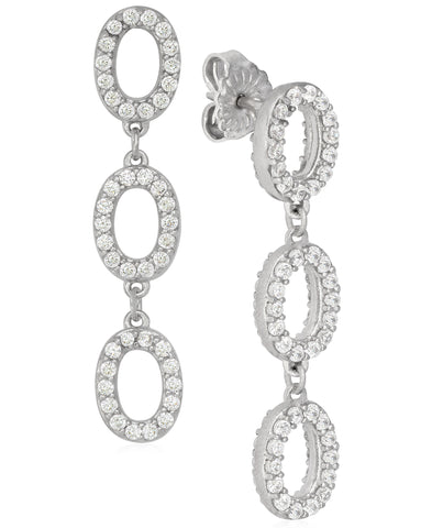 Rhona Sutton Plated Sterling Silver Crystal Oval Station Drop Earrings - Rhona Sutton Jewellery