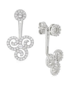 Rhona Sutton Sterling Silver Crystal Triskelion Ear Jackets - Rhona Sutton Jewellery