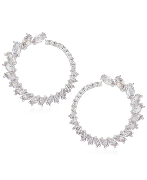 Rhona Sutton Sterling Silver Marquise Crystal Wrap Hoop Earrings - Rhona Sutton Jewellery