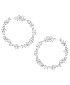 Rhona Sutton Sterling Silver Crystal Clusters Wrap Hoop Earrings - Rhona Sutton Jewellery