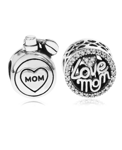 2-Pc. Set Cubic Zirconia Love Mom & Perfume Bead Charms in Sterling Silver - Rhona Sutton Jewellery