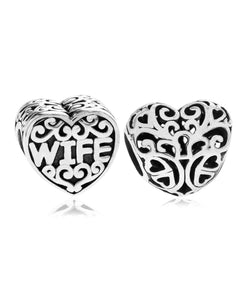 2-Pc. Wife & Keyhole Heart Bead Charms in Sterling Silver - Rhona Sutton Jewellery