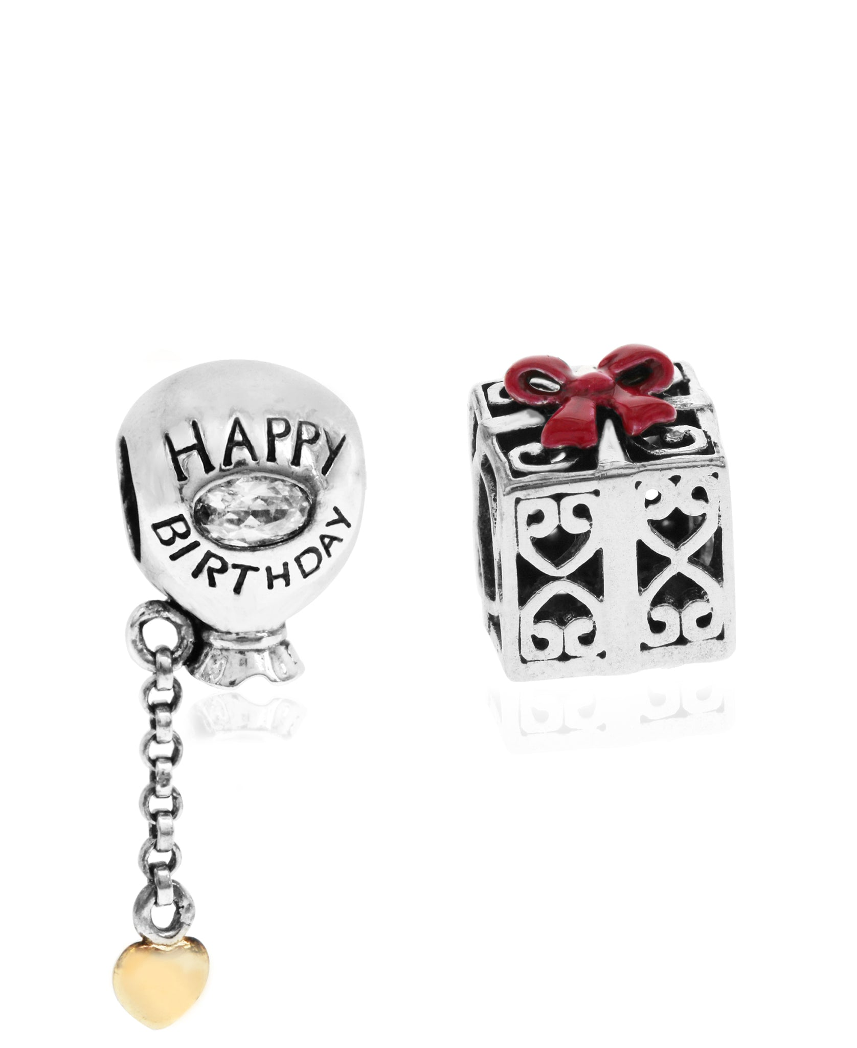 2-Pc. Set Happy Birthday Balloon & Gift Box Bead Charms in Sterling Silver & Gold-Plate - Rhona Sutton Jewellery