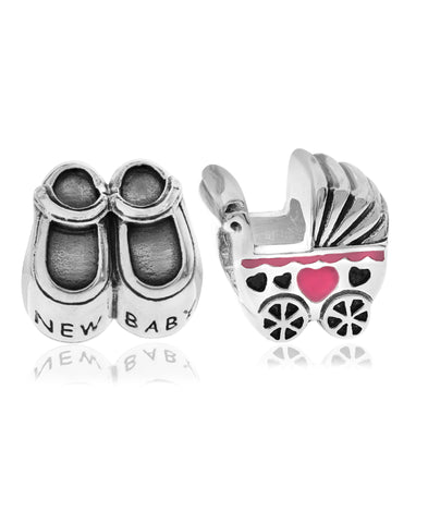 2-Pc. Set New Baby Bead Charms in Sterling Silver & Gold-Plate (2 colors) - Rhona Sutton Jewellery
