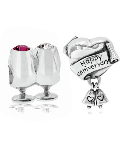 2-Pc. Set Cheers/Anniversary Celebration Bead Charms in Sterling Silver - Rhona Sutton Jewellery