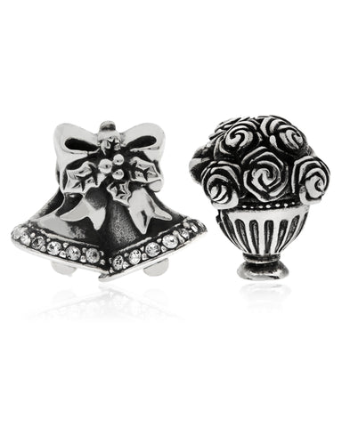 2-Pc. Set Wedding Bells & Bouquet Bead Charms in Sterling Silver - Rhona Sutton Jewellery