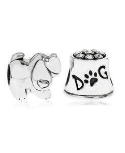 2-Pc. Set Puppy Love Bead Charms in Sterling Silver - Rhona Sutton Jewellery