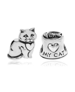2-Pc. Set Heart My Cat Bead Charms in Sterling Silver - Rhona Sutton Jewellery