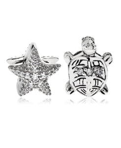 2-Pc. Set Cubic Zirconia Starfish and Turtle Bead Charms in Sterling Silver - Rhona Sutton Jewellery