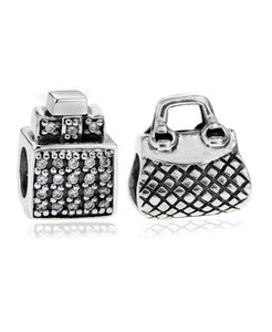 2-Pc. Set Perfume Bottle & Purse Bead Charms in Sterling Silver - Rhona Sutton Jewellery
