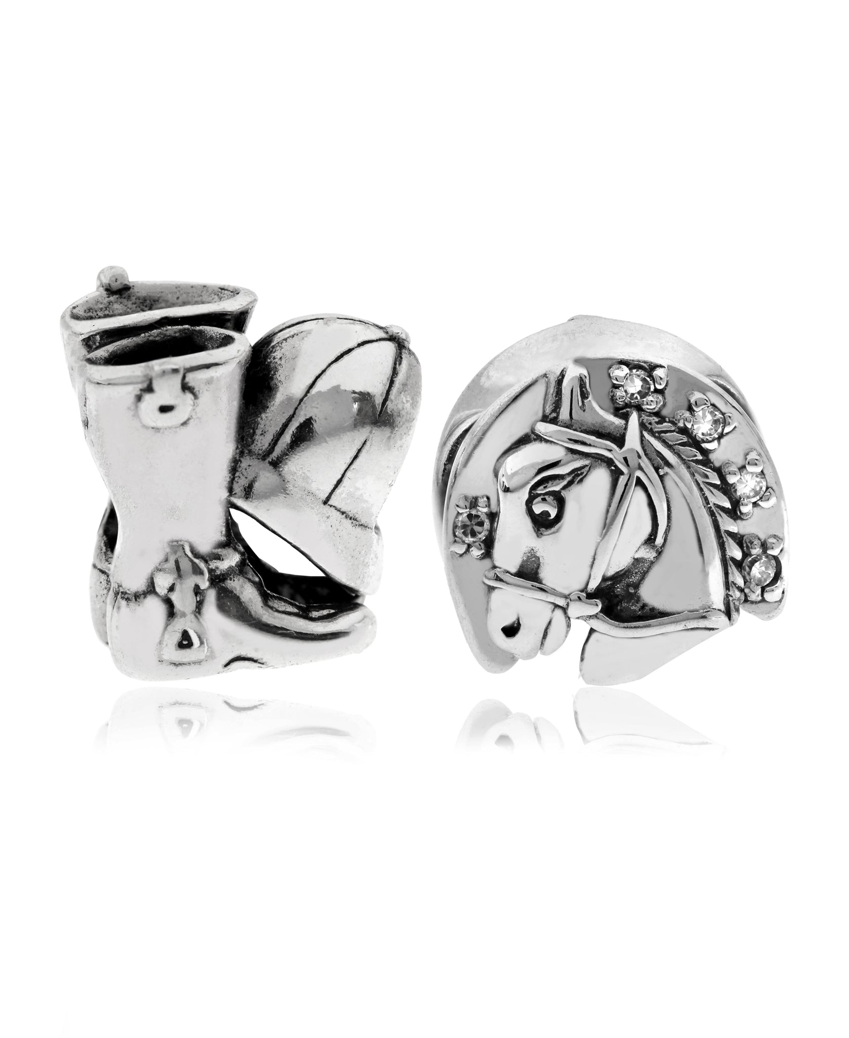 2-Pc. Equestrian Bead Charms in Sterling Silver - Rhona Sutton Jewellery