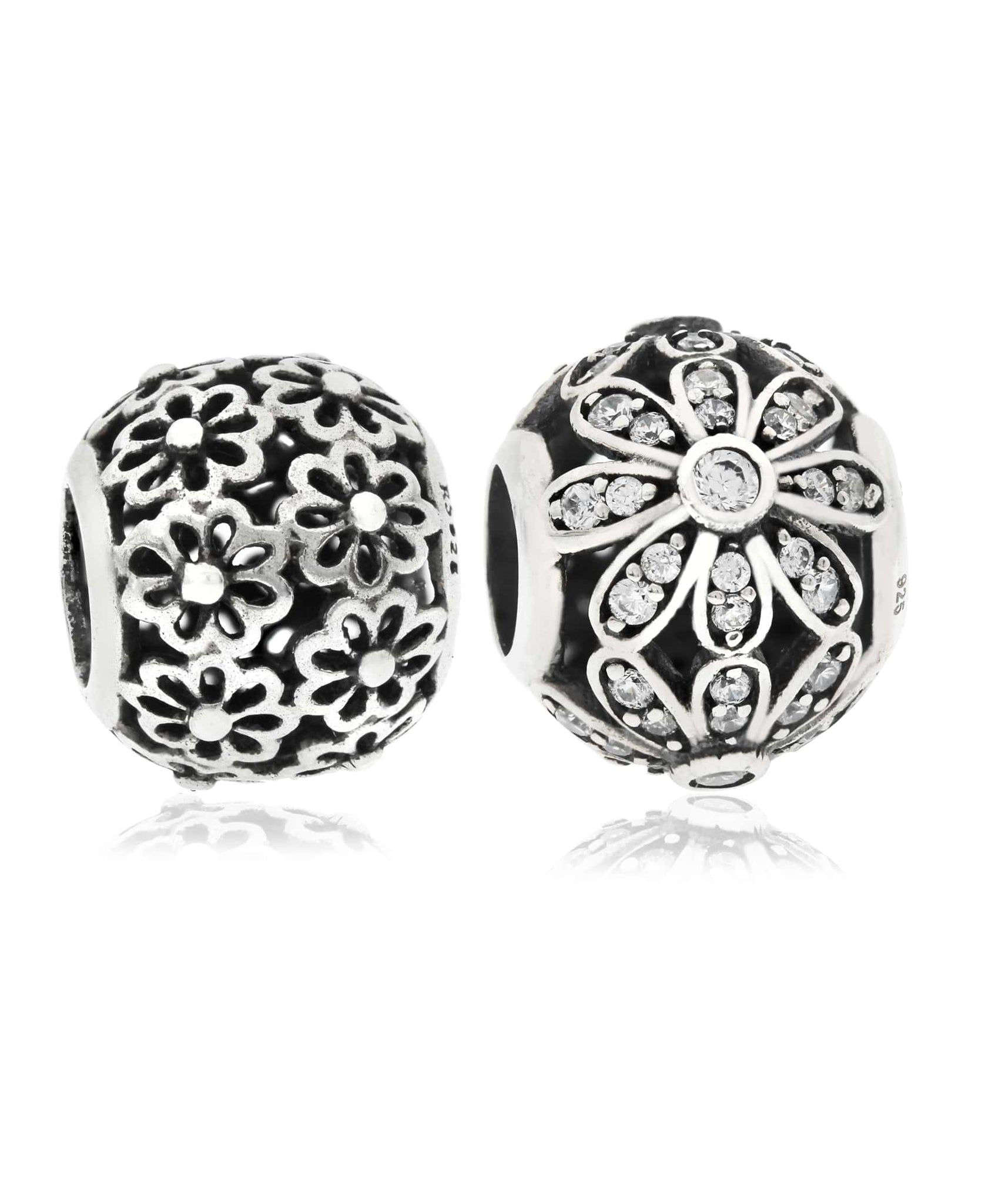 2-Pc. Cubic Zirconia Daisy Bead Charms in Sterling Silver - Rhona Sutton Jewellery