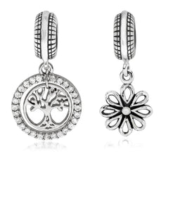2-Pc. Set Tree of Life & Daisy Blossom Bead Charms in Sterling Silver - Rhona Sutton Jewellery
