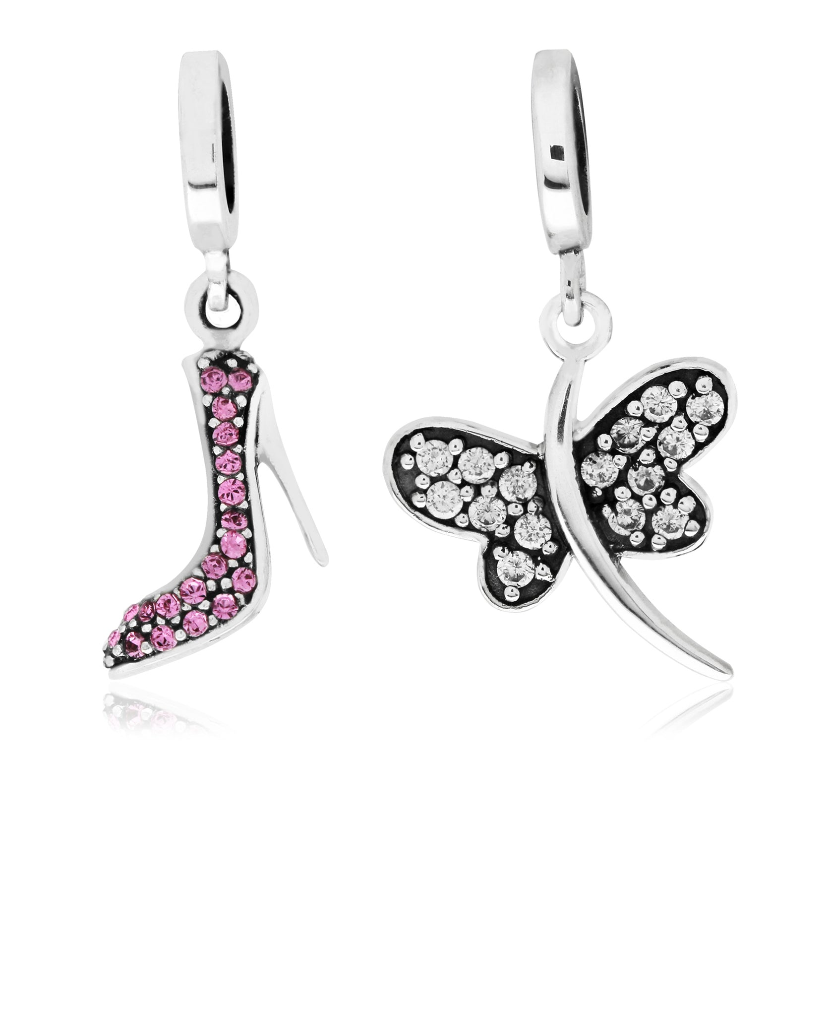 2-Pc. Set Cubic Zirconia High Heel & Dragon Fly Drop Charms in Sterling Silver - Rhona Sutton Jewellery