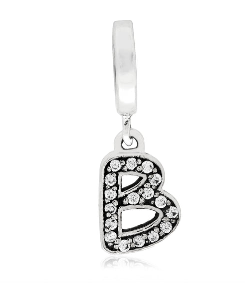 Cubic Zirconia Inital Charm in Sterling Silver (26 letters) - Rhona Sutton Jewellery